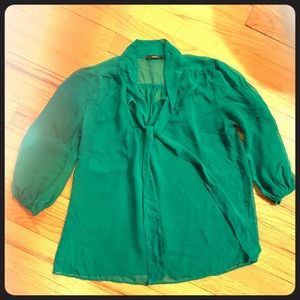Sheer Kelly Green Blouse with Neck Tie Detail